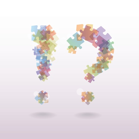 exclamation mark question mark from the pieces of puzzle - illustration Vector