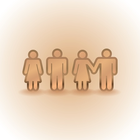 couples, singles and holding by the hands - illustration Vector