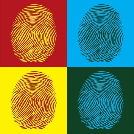 odcisk kciuka: odciski palców szczegółowy pop ilustracja styl sztuka