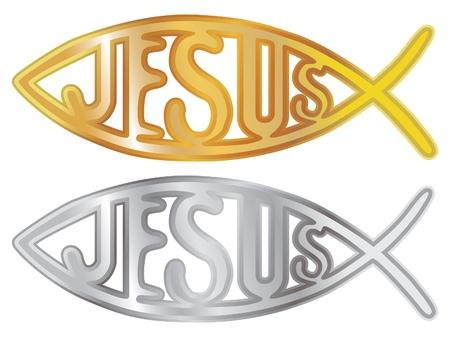 pez cristiano: plata y oro s�mbolo cristiano de los pescados - ilustraci�n Vectores