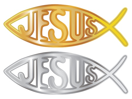 silver and gold christian fish symbol - illustration Vector