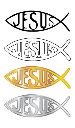 pez cristiano: blanco, negro, plata y oro símbolo cristiano de los pescados - ilustración