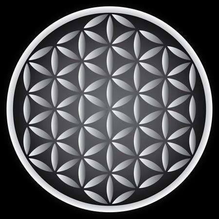 yin y yan: flor de símbolo de la vida - Ilustración
