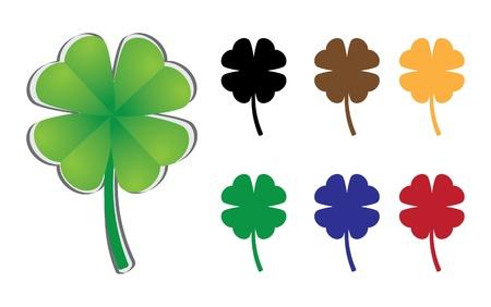 four leafed clover: conjunto de tr�bol de cuatro hojas - ilustraci�n Vectores
