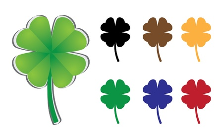 four leafed: set of four-leaf clover - illustration Illustration