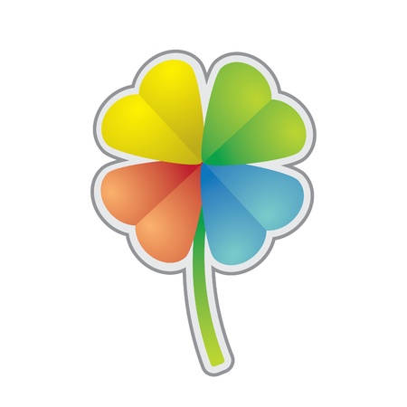 leafed: multicolored four-leaf clover - illustration Illustration