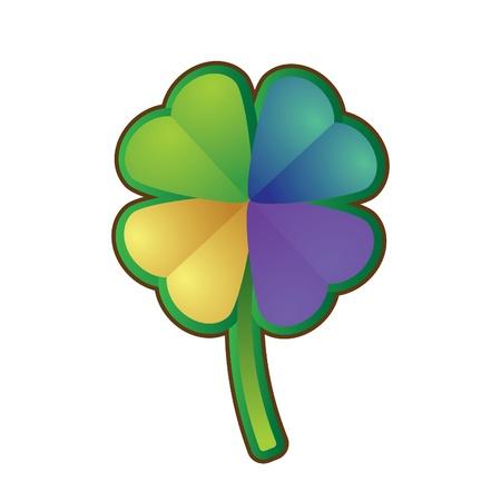 four leafed clover: multicolores tr�bol de cuatro hojas - ilustraci�n