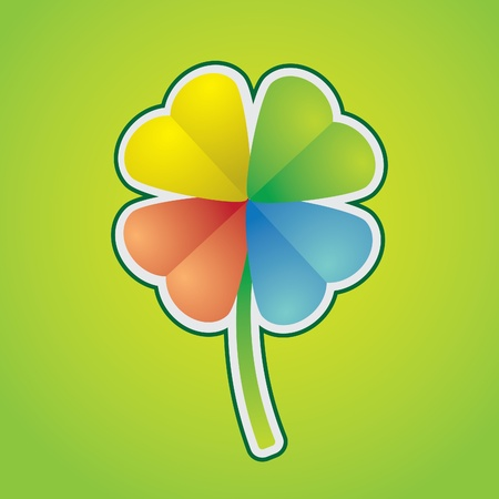 four leafed: multicolored four-leaf clover - illustration Illustration