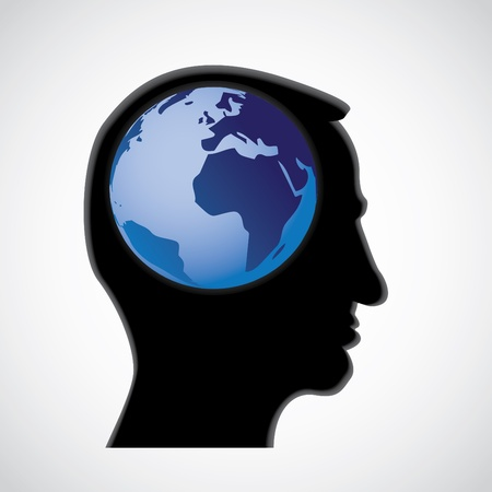 globe in head - abstract illustration Vector