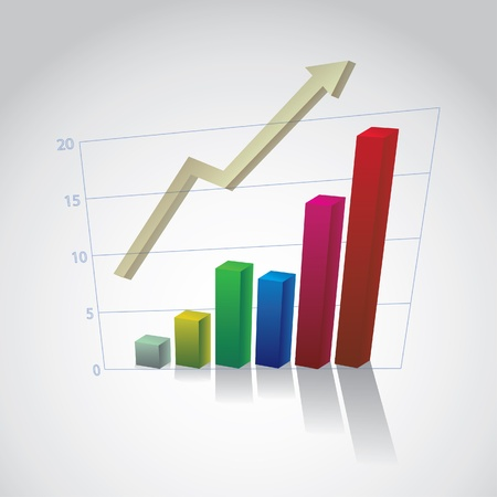 business graph with arrow - illustration Vector