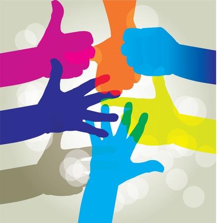 manos juntas: conjunto de la mano del hombre - Ilustraci�n