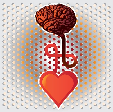 connection between heart and brain - illustration Vector