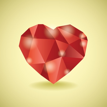 Abstract diamond heart illustration Vector