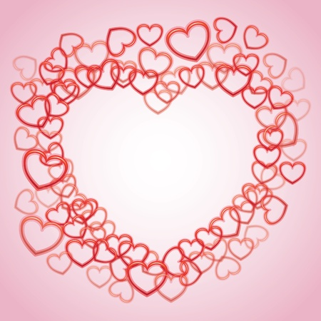 Heart from smaller outline hearts - illustration Stock Vector - 12450153