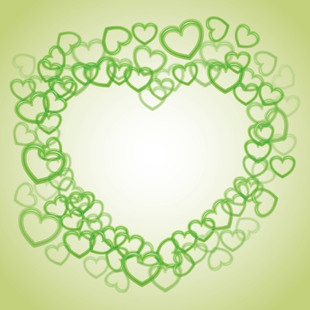 Heart from smaller outline hearts - illustration Vector