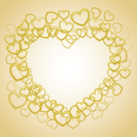 smaller: Heart from smaller outline hearts - illustration