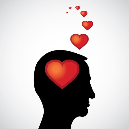 heart in the mind - illustration Vector