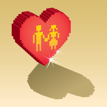 3D couple in pixel heart - isolated illustration Stock Vector - 12453583