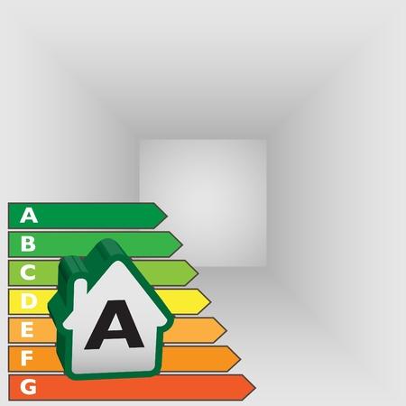 classification: energy efficiency label of house - illustration Illustration
