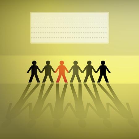 hand holding paper: figure umane in una fila, fondo - illustrazione