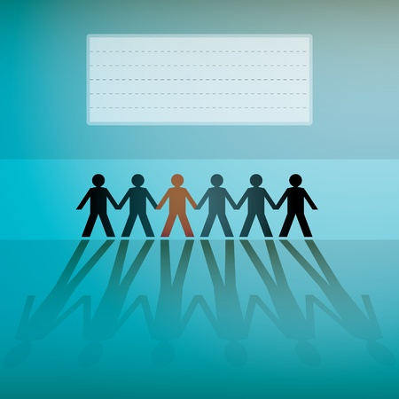 linked hands: human figures in a row, background - illustration