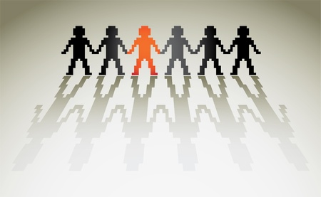 equal opportunity: pixel human figures in a row - illustration