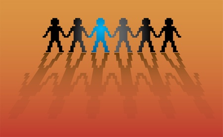 pixel human figures in a row - illustration Vector