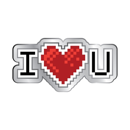 I love you retro look logo - illustration Vector