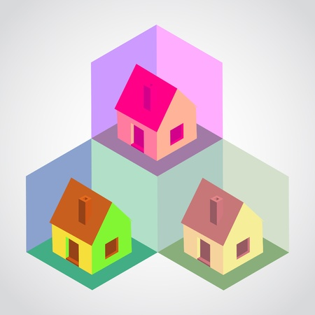 Isometric houses in cells - illustration Vector