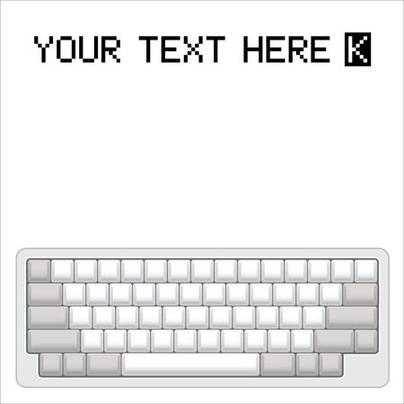 hands on keyboard: blank computer keyboard layout - realistic illustration Illustration