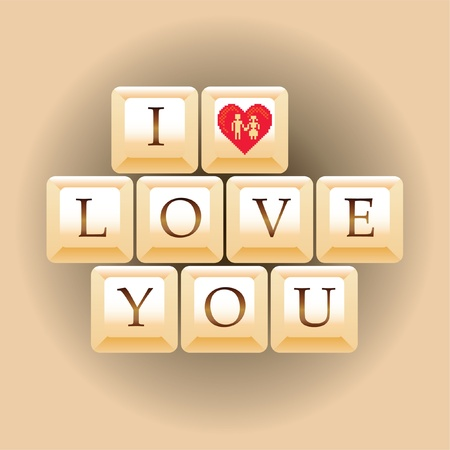 computer keys I Love You - illustration Vector
