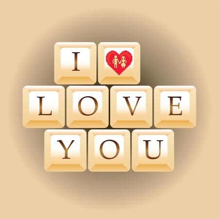computer keys I Love You - illustration Vector