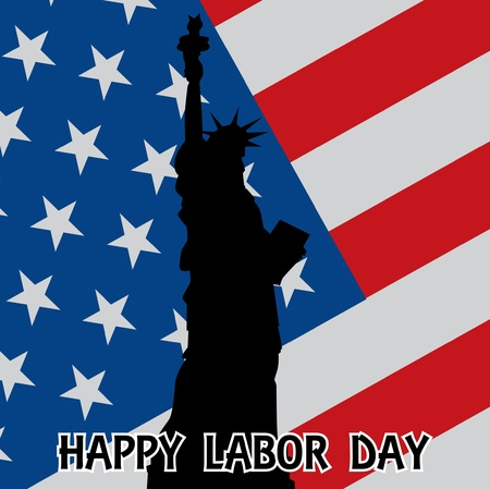 clothespin and rope: happy labor day - illustration