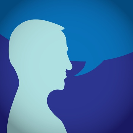 talkative: Silhouette of talking man - illustration Illustration