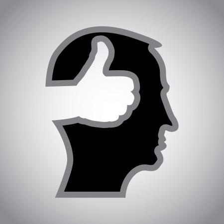 actitudes: pulgar hacia arriba en la cabeza