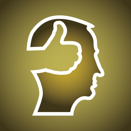 thumb up in head illustration Vector