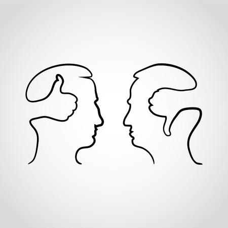 negar: cabeza con thumbd y los pulgares hacia abajo - ilustraci�n Vectores
