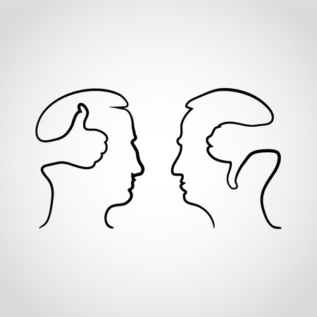 good and bad: head with thumbd up and thumbs down - illustration