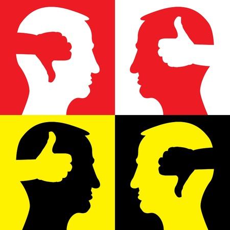 Kopf mit nach oben und thumbd Daumen runter - Illustration