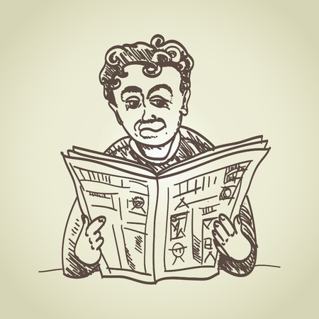 old newspapers: sitting man reads news - illustration