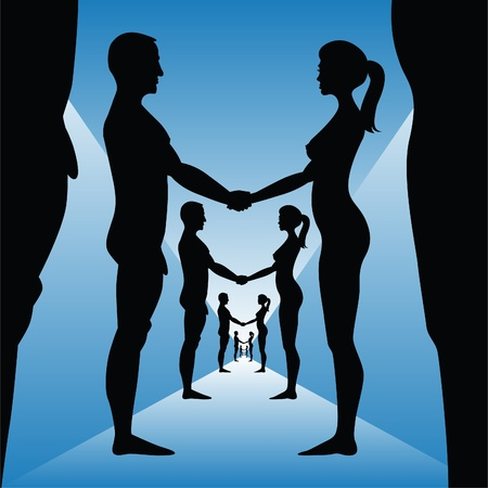 nude woman standing: naked man and woman holding hands - silhouette illustration