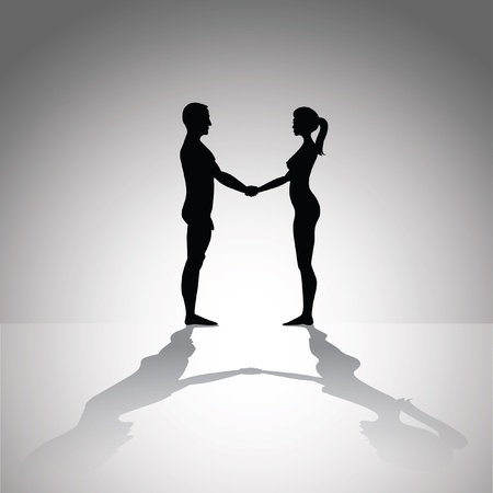 naked man and woman holding hands - silhouette illustration Vector