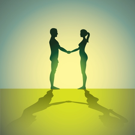 naked man and woman holding hands - silhouette illustration Stock Vector - 12452819