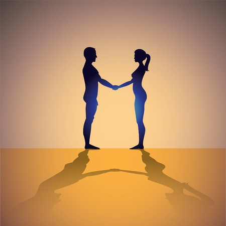 naked man and woman holding hands - silhouette illustration Stock Vector - 12452811