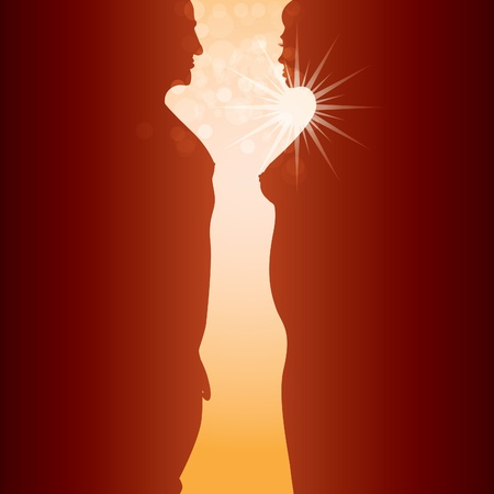 silhouette of naked man and woman body in sunrising - illustration Vector