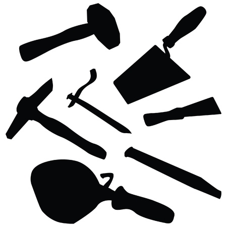 bricklayer: isolated silhouette illustration of masons tool