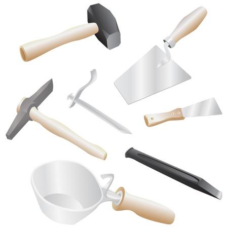 stone mason: isolated realistic illustration of masons tool