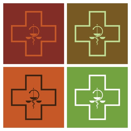 medical symbol cross in pop-art style - illustration Vector