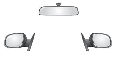 reflection in mirror: set of car rear back mirrors - illustration