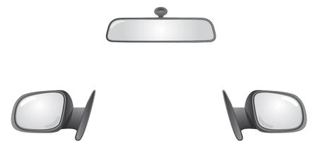 look in mirror: set of car rear back mirrors - illustration